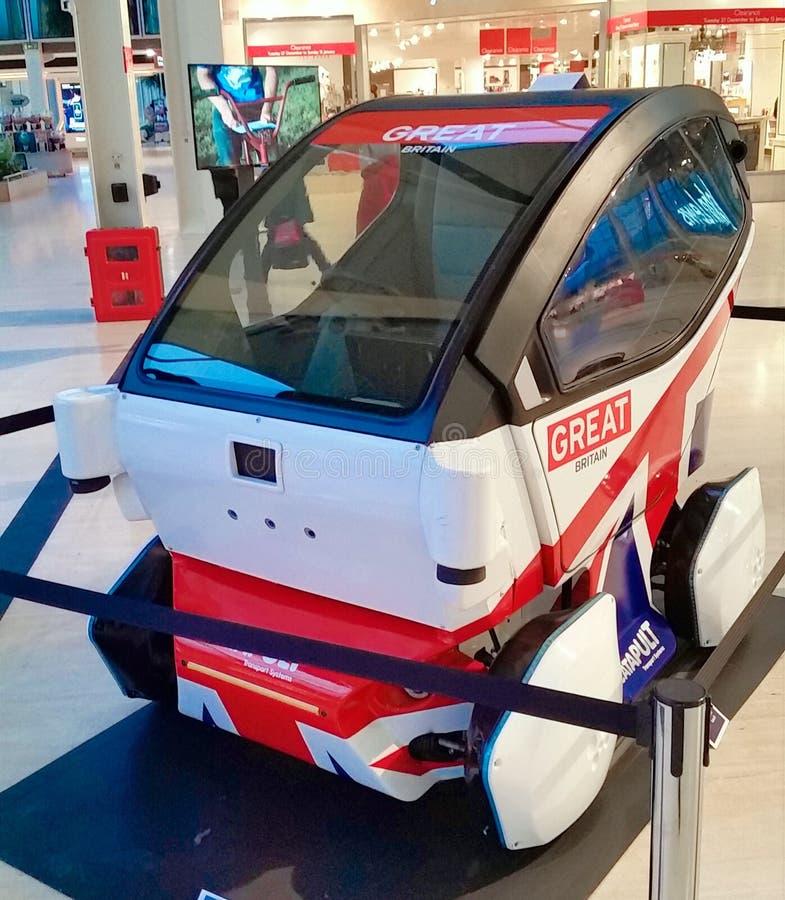 Driverless pod car in Milton Keynes, UK. Driverless pod car in Milton Keynes United kingdom mksmart EV experience future catapult tech mahindra great britain stock photography