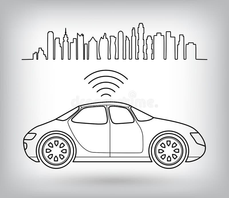 Driverless robotachtige auto, grafisch symbool van zelf-drijft auto in stad vector illustratie