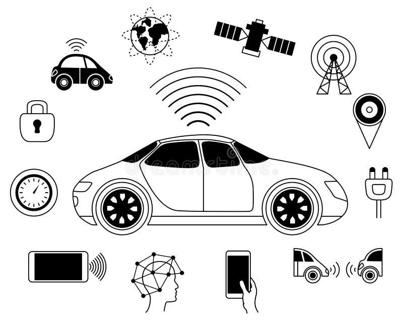 Driverless Roboterautobildzeichen, Auto selbst-fahrend lizenzfreie abbildung