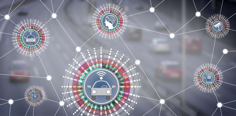 Driverless Roboterautos angeschlossen an AI über IoT lizenzfreies stockfoto