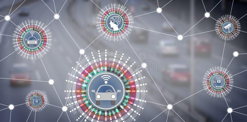 Driverless Robotic bilar förbindelse till AI via IoT royaltyfri foto