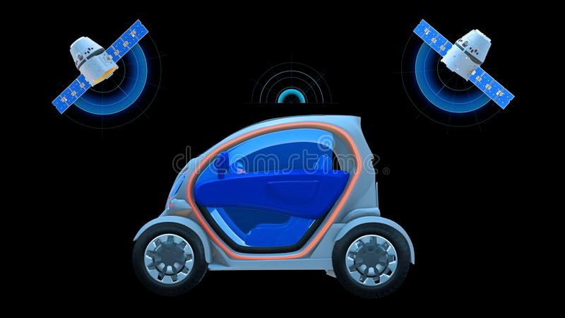 Driverless vehicle, autonomous electric car driving with two satellites on black background, futuristic car, side view royalty free illustration