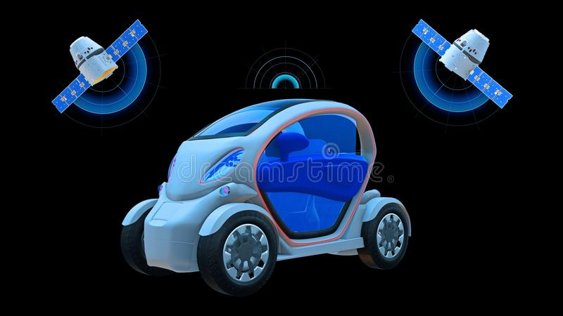 Driverless vehicle, autonomous electric car driving with two satellites on black background, futuristic car, 3D render vector illustration