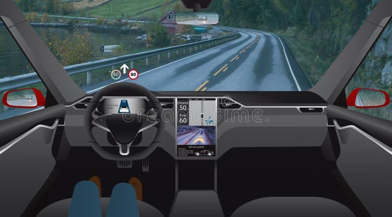 Driverlessauto op de weg stock fotografie