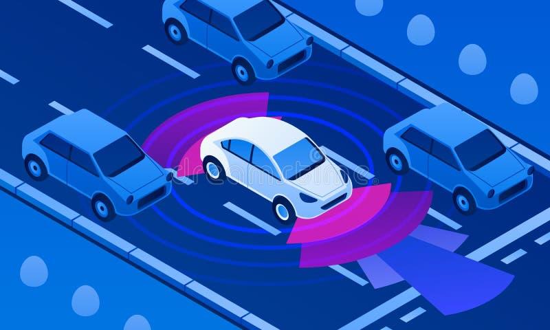 Driverlessauto op wegbanner, isometrische stijl royalty-vrije illustratie