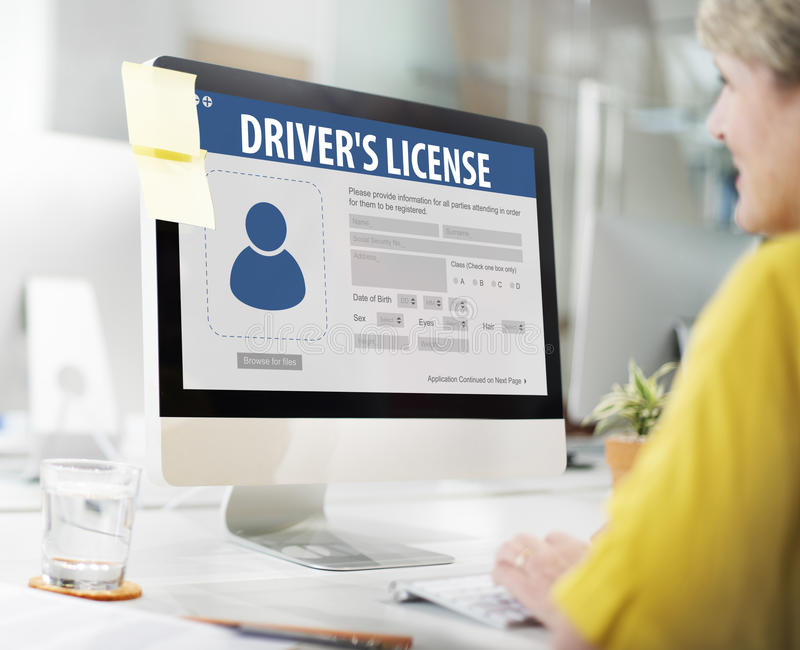 Drivers License Registeration Application Webpage Concept. Business Drivers License Application Concept royalty free stock images