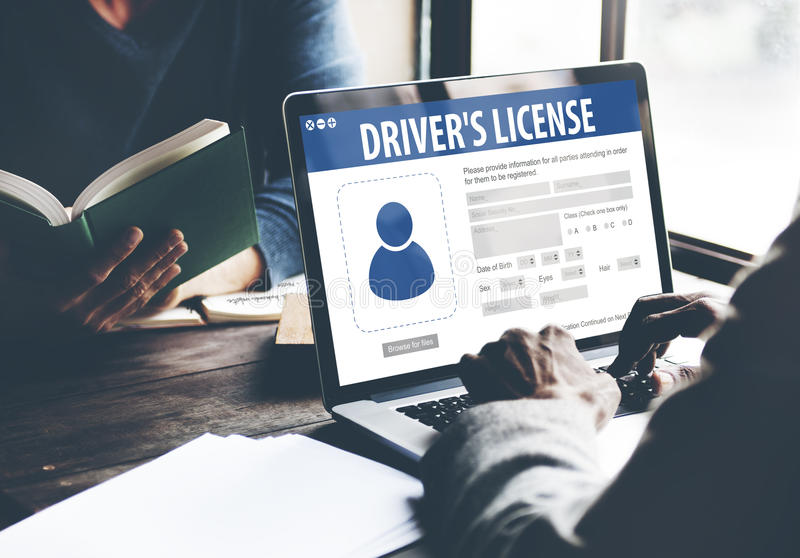 Drivers License Registration Application Webpage Concept.  stock photo
