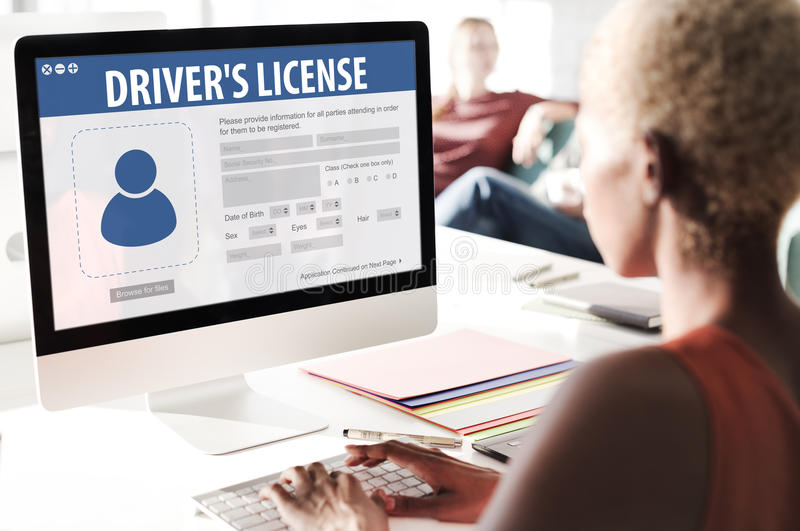 Drivers License Registration Application Webpage Concept stock photography