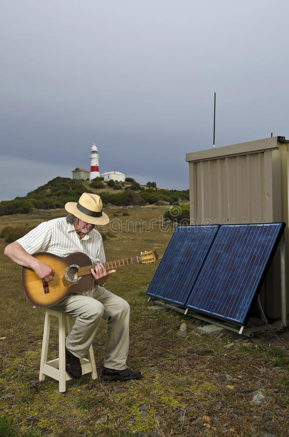 drivet sol- för gitarrist fyr royaltyfri bild