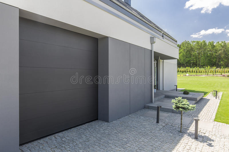 Driveway and garage royalty free stock image