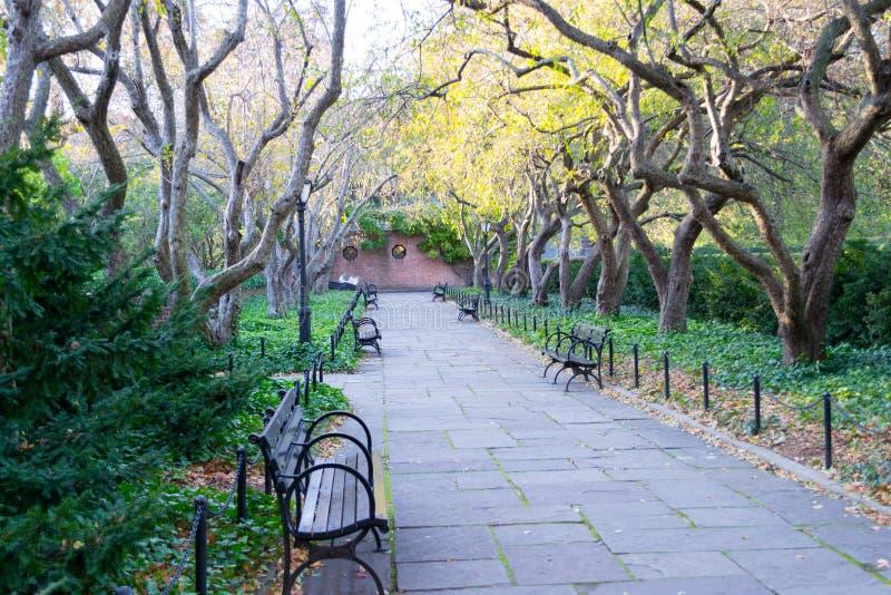 Drivhusträdgården är den enda formella trädgården i Central Park royaltyfri fotografi