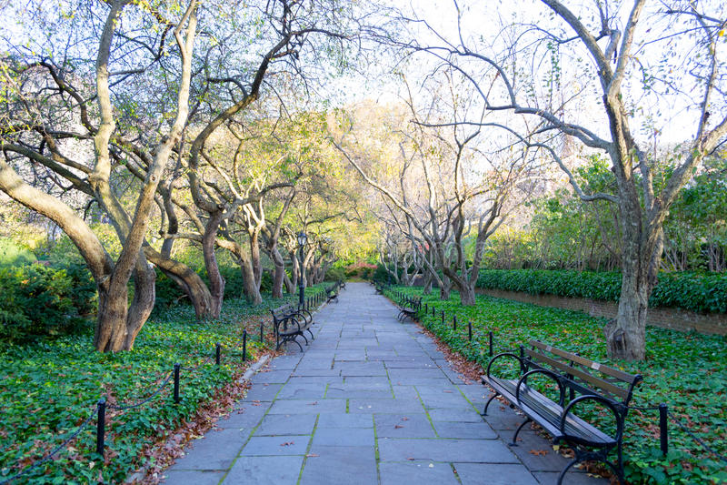 Drivhusträdgården är den enda formella trädgården i Central Park royaltyfri bild