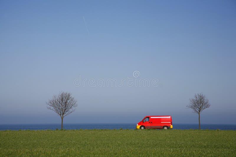Driving akong the coast stock photo