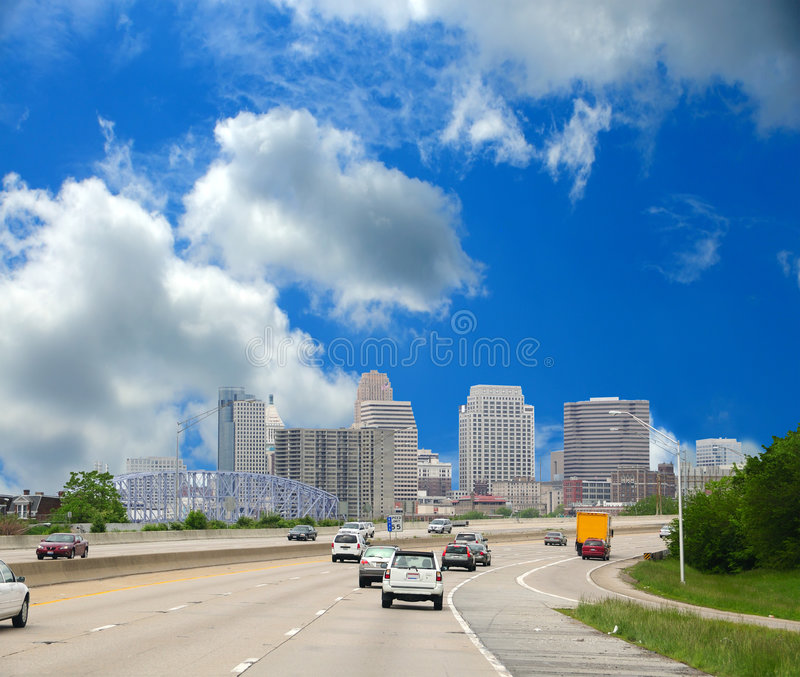 Driving Along The Interstate To Cincinnati Ohio royalty free stock photos