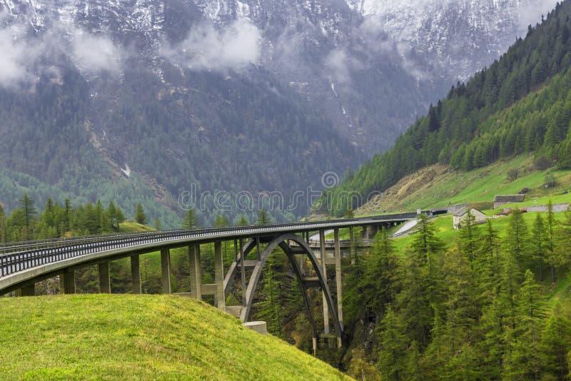 Bridge at Simplon pass stock photos