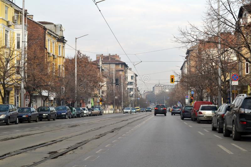 Driving around Sofia, the capital of Bulgaria stock photography