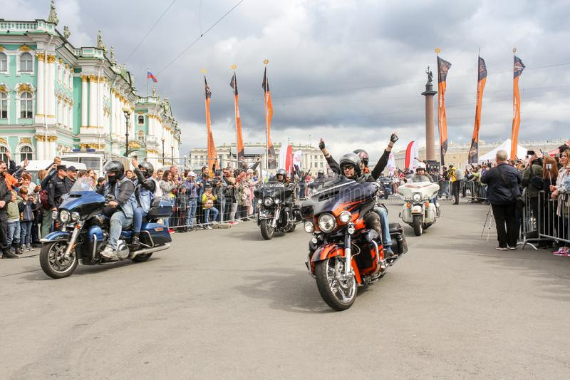Driving bikers on motorcycles royalty free stock photography