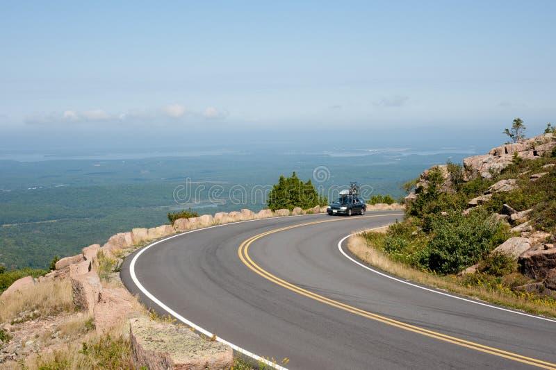 Driving Cadillac Mountain stock photo