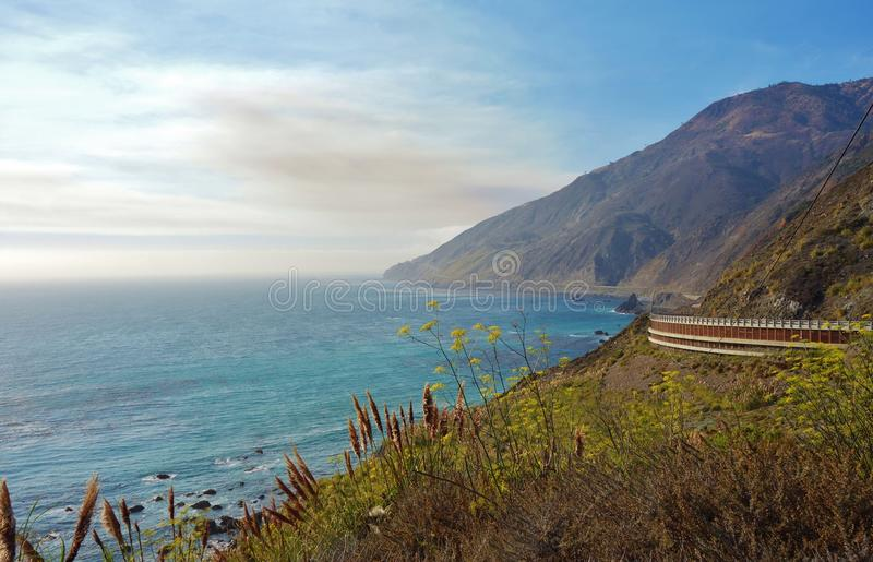 Driving in California on the Pacific Coast Highway Route 1. Between Monterey and Carmel royalty free stock images