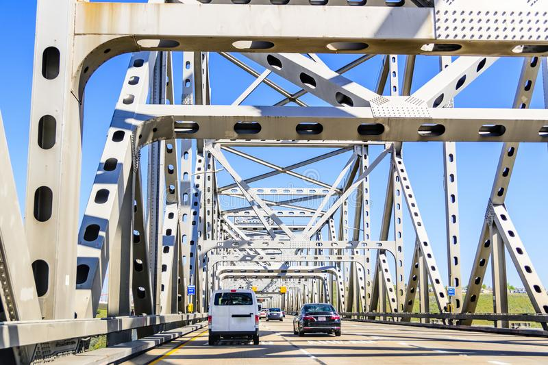 .Driving on Carquinez Bridge on a sunny day, San Francisco bay, California. Driving on Carquinez Bridge on a sunny day, San Francisco bay, California royalty free stock images