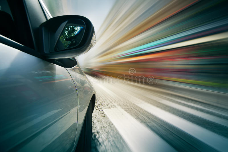 Driving in city stock photos