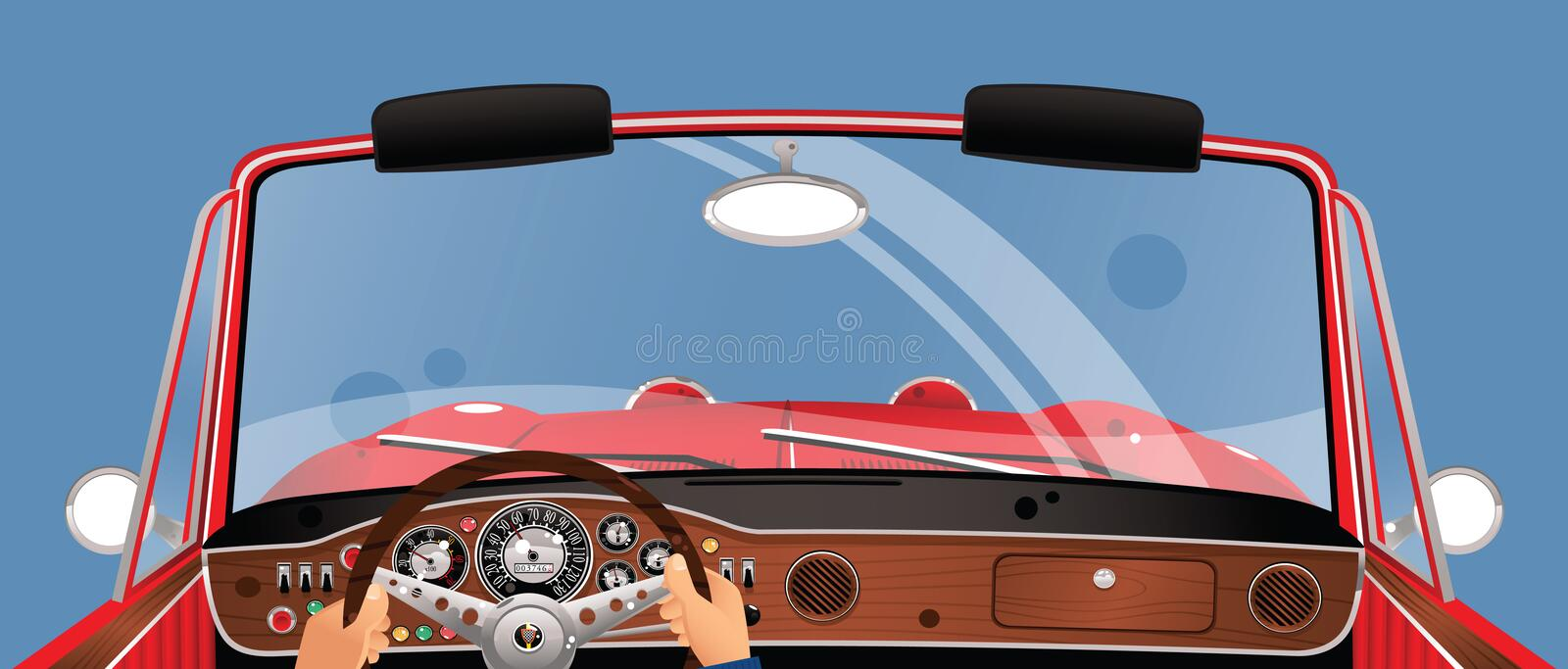 Driving a convertible auto royalty free stock image