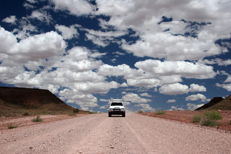 Driving through the desert stock images