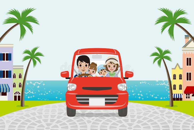 Driving Family Summer Seaside town vector illustration