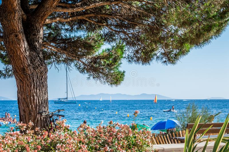 Driving in French Riviera. Cote d`Azur French Riviera is situated in the southern eastern part of the mediterranean coast of France and it is famous for its stock photos