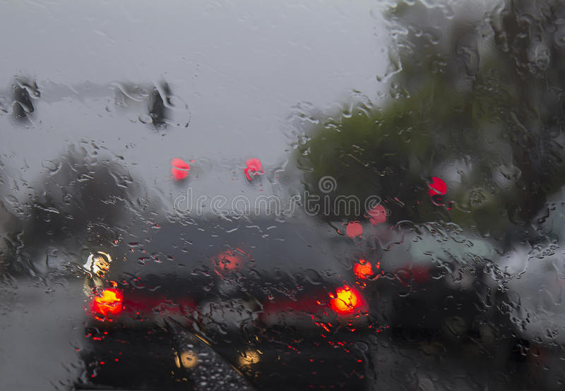 Driving in heavy rain stock images