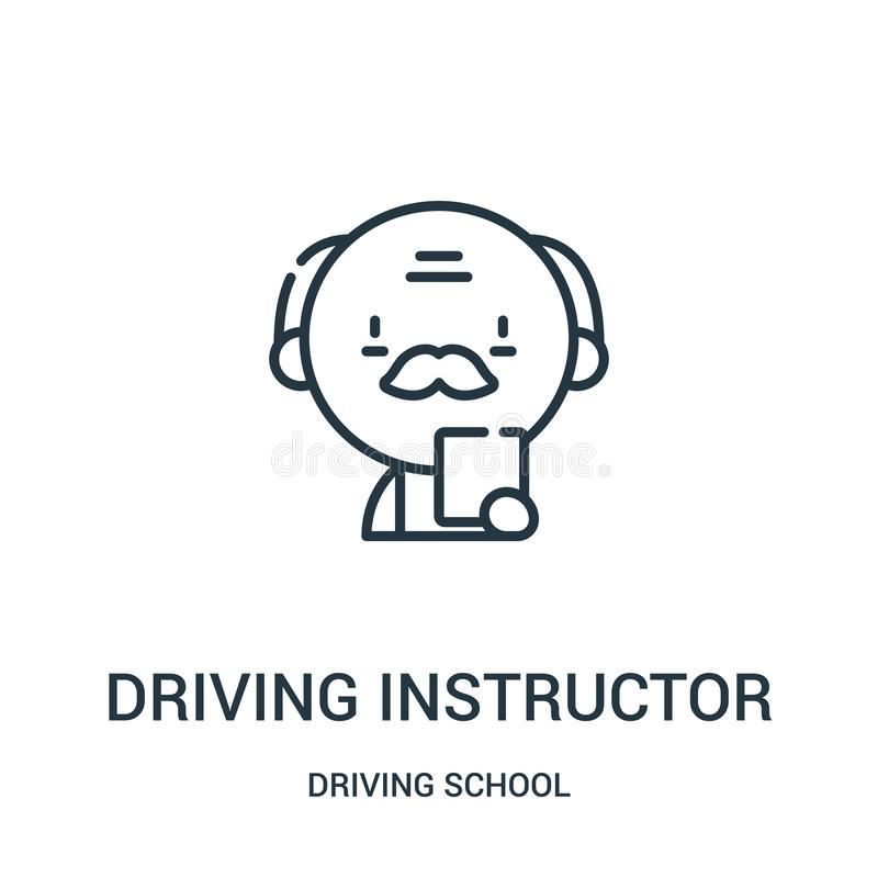 driving instructor icon vector from driving school collection. Thin line driving instructor outline icon vector illustration stock illustration