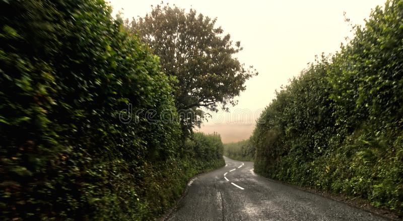 Driving through lanes in the wet royalty free stock photos