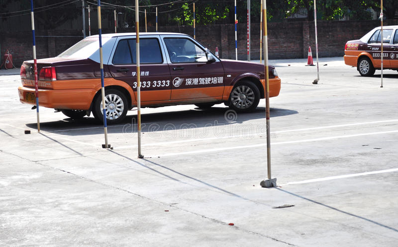 Driving lessons. Cars at driving shcool lessons training ground,shenzhen city,china pic on september 18,2011 royalty free stock image