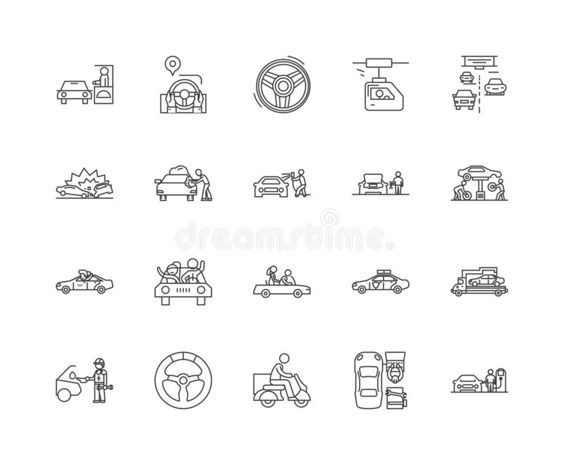Driving line icons, signs, vector set, outline illustration concept royalty free illustration