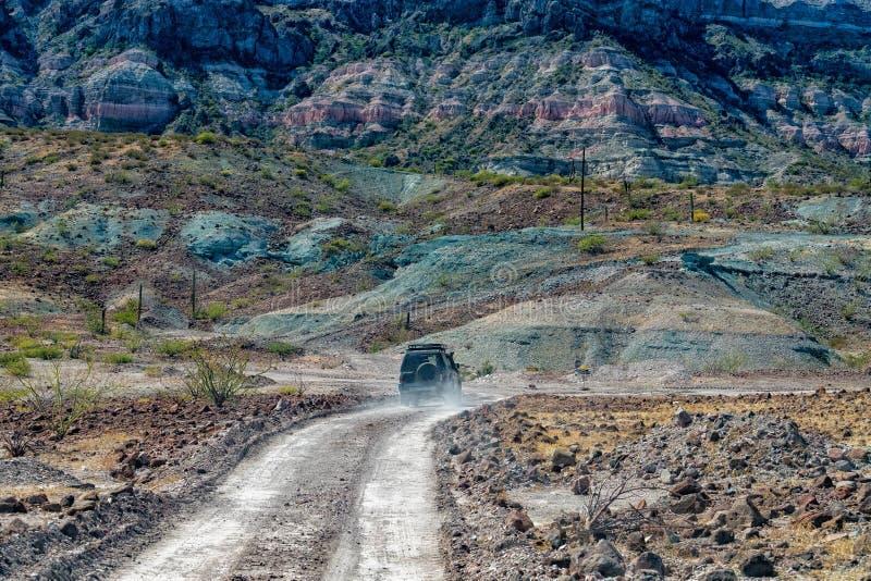 4x4 offroad in baja california landscape panorama desert road stock photos
