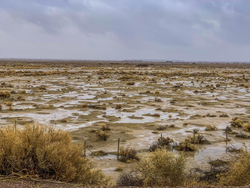 Driving through the Mojave Desert at Lancaster, CA. This section of the Mojave Desert does not have the famous Joshua Trees royalty free stock photos