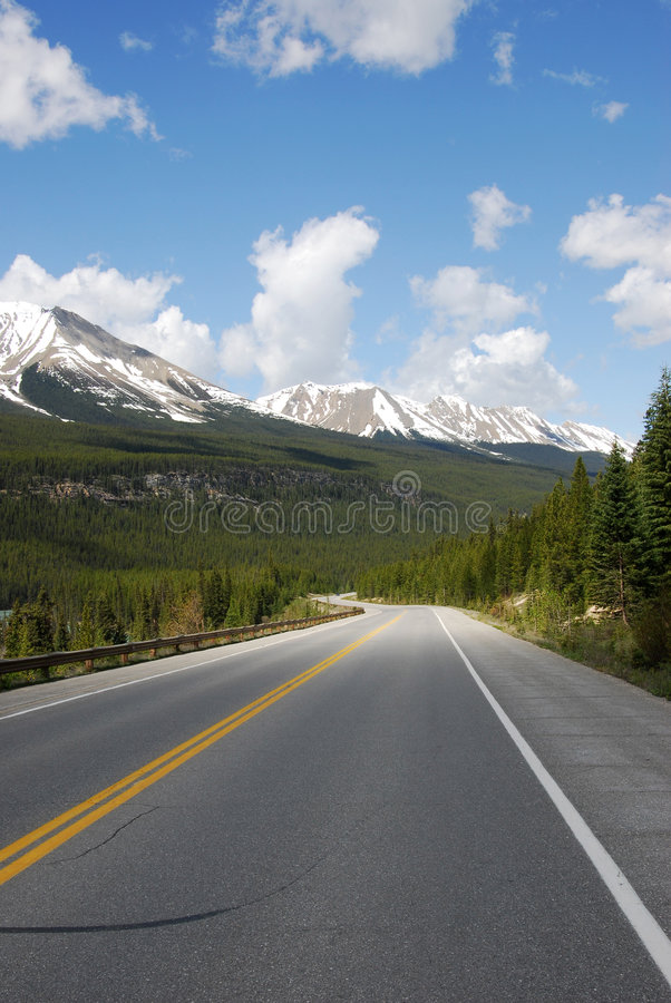 Driving in mountain road stock image