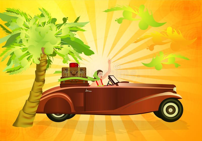 Driving my old car. Lady in an old fancy car with trunk of luggage, sunny background with palm