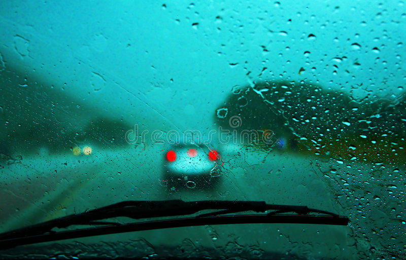 Driving in the Rain stock photo