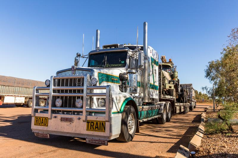 Stuart Highway, road trains on the road between  Darwin to Adelaide stock image