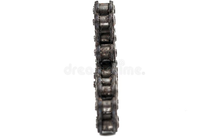 Driving roller chain isolated on white background.Copy space. Bicycle, metal, equipment, industry, bike, black, industrial, iron, cycling, motorcycle royalty free stock image