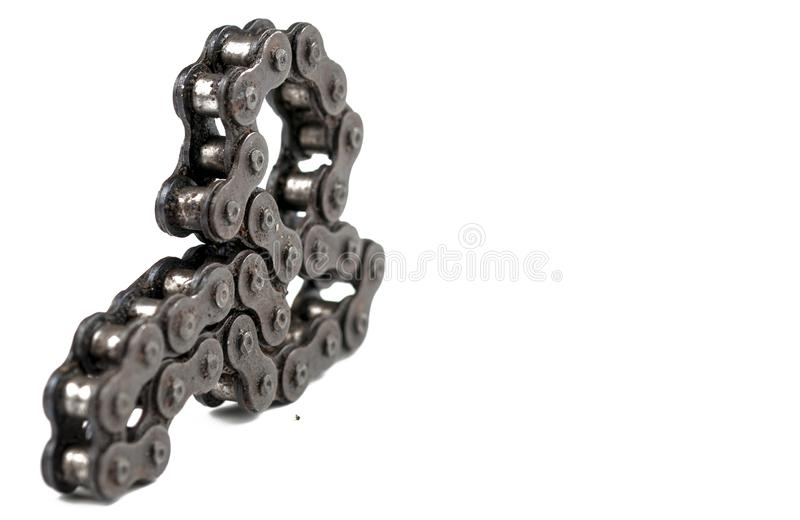 Driving roller chain isolated on white background.Copy space. Bicycle, metal, equipment, industry, bike, black, industrial, iron, cycling, motorcycle royalty free stock photos