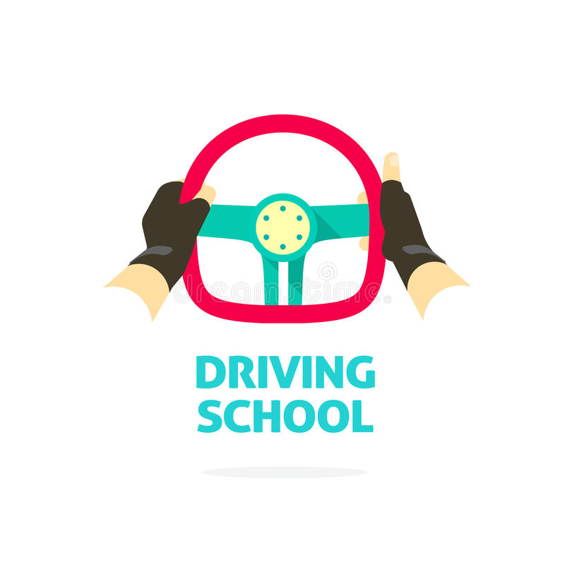 Driving school logo template, hands holding steering wheel thumb up stock illustration