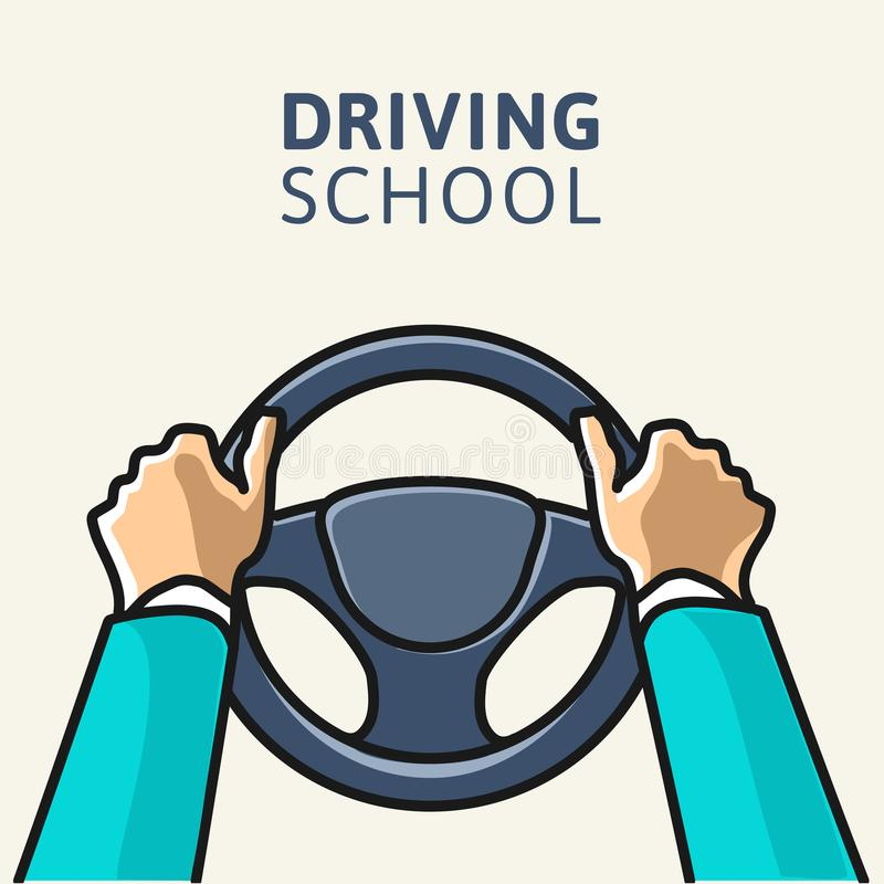 Driving school logo template. vector illustration