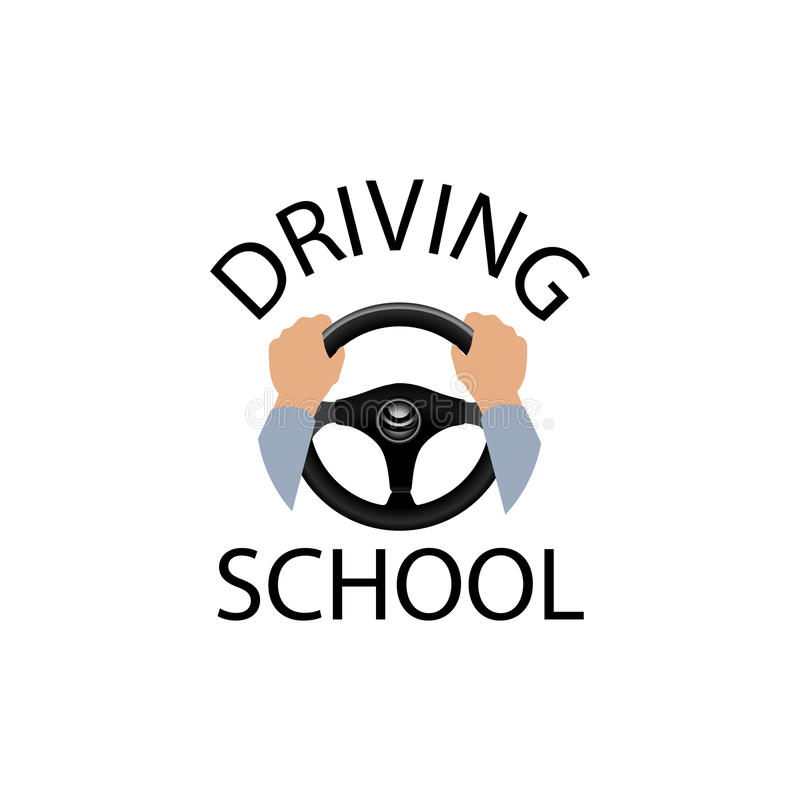 Driving school sign. Diver with hands holding steering wheel. stock illustration
