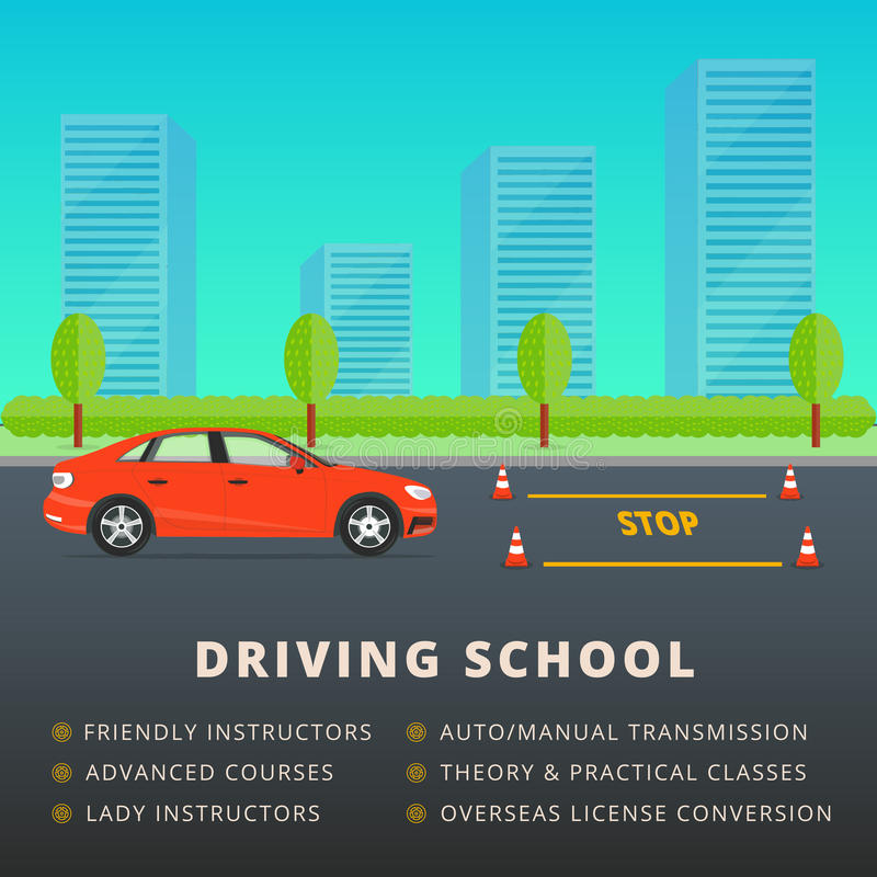 Driving school web banner advertisement design. Car driver class stock illustration
