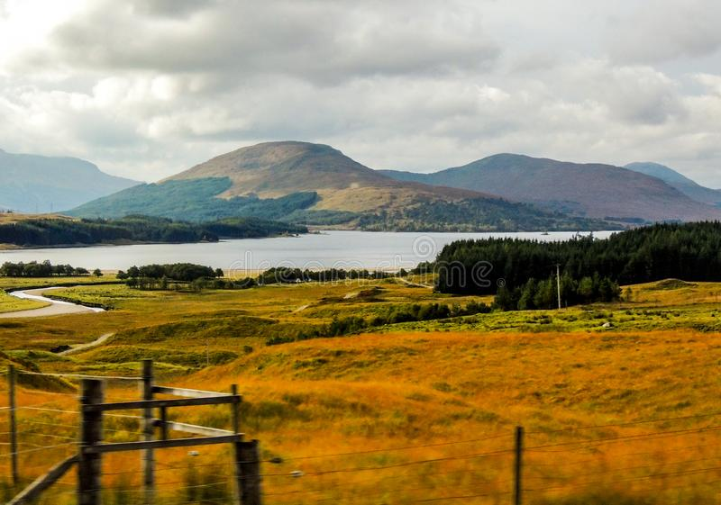 Scottish highlands driving by in a blur. royalty free stock photo
