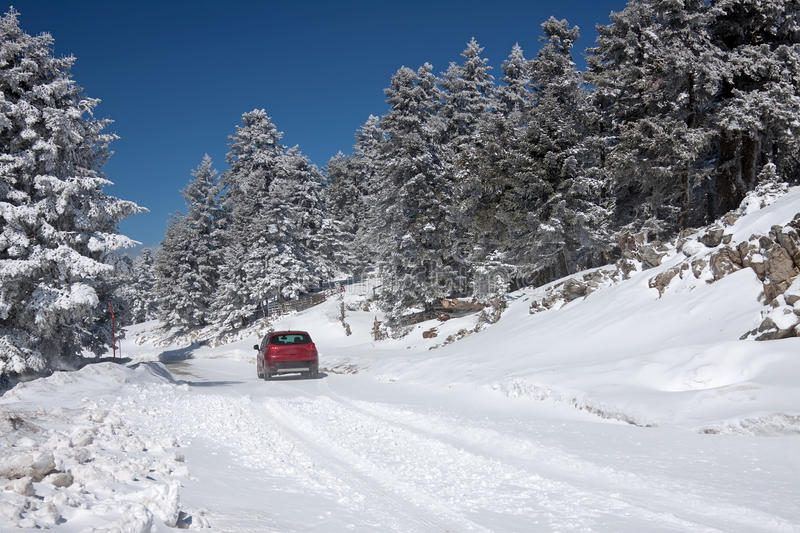 Download Driving In The Snow stock image. Image of europe, snow - 19155619