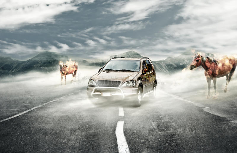 Driving on surreal mist royalty free stock images