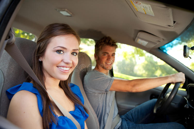 Driving: Teens in Car stock image